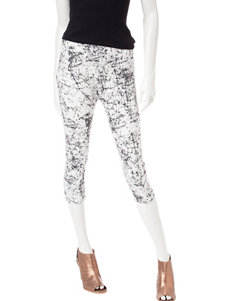 One 5 One White / Black Capris & Crops Leggings