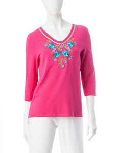 Onque Casuals Pink Shirts & Blouses