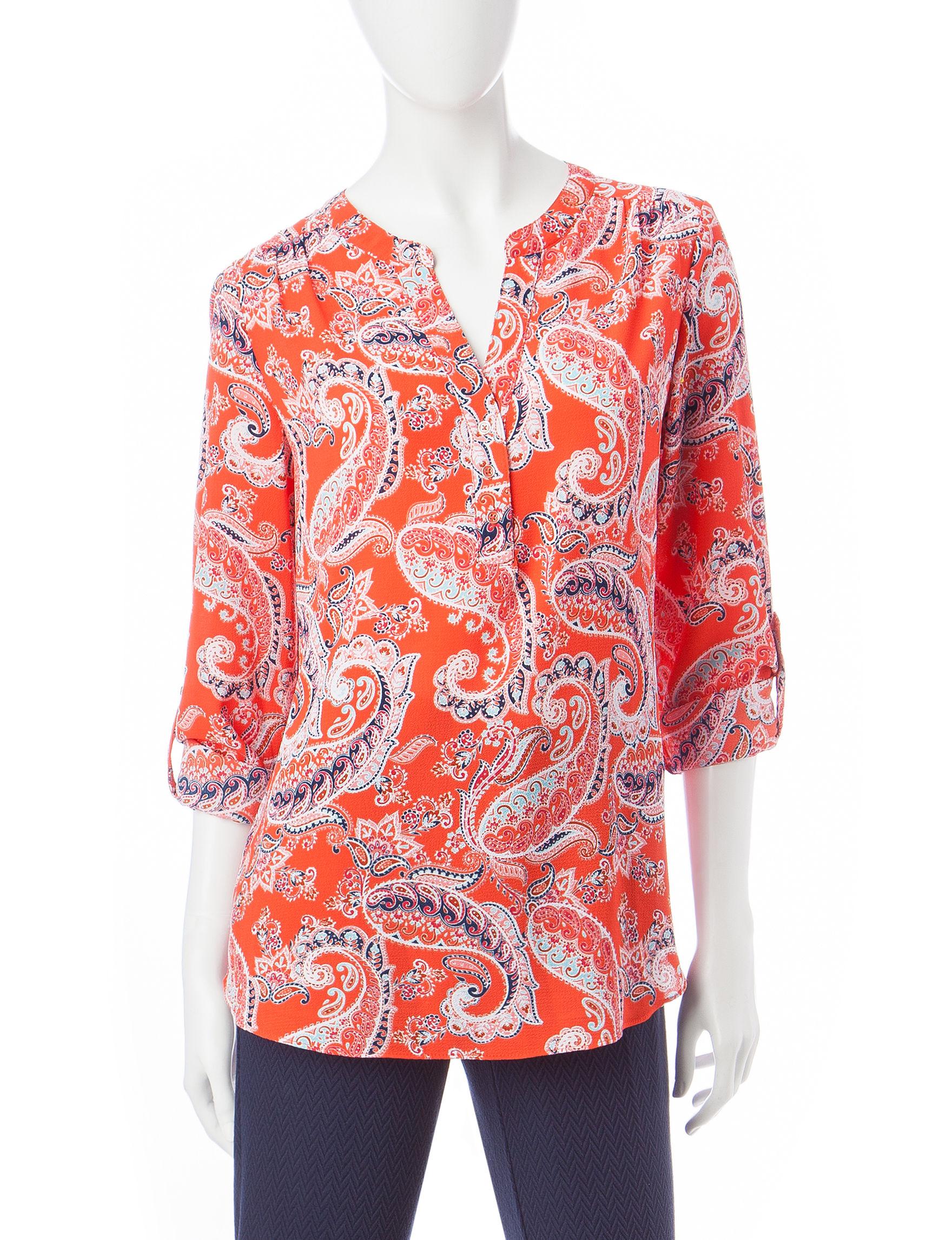 Valerie Stevens Orange/ Navy Shirts & Blouses