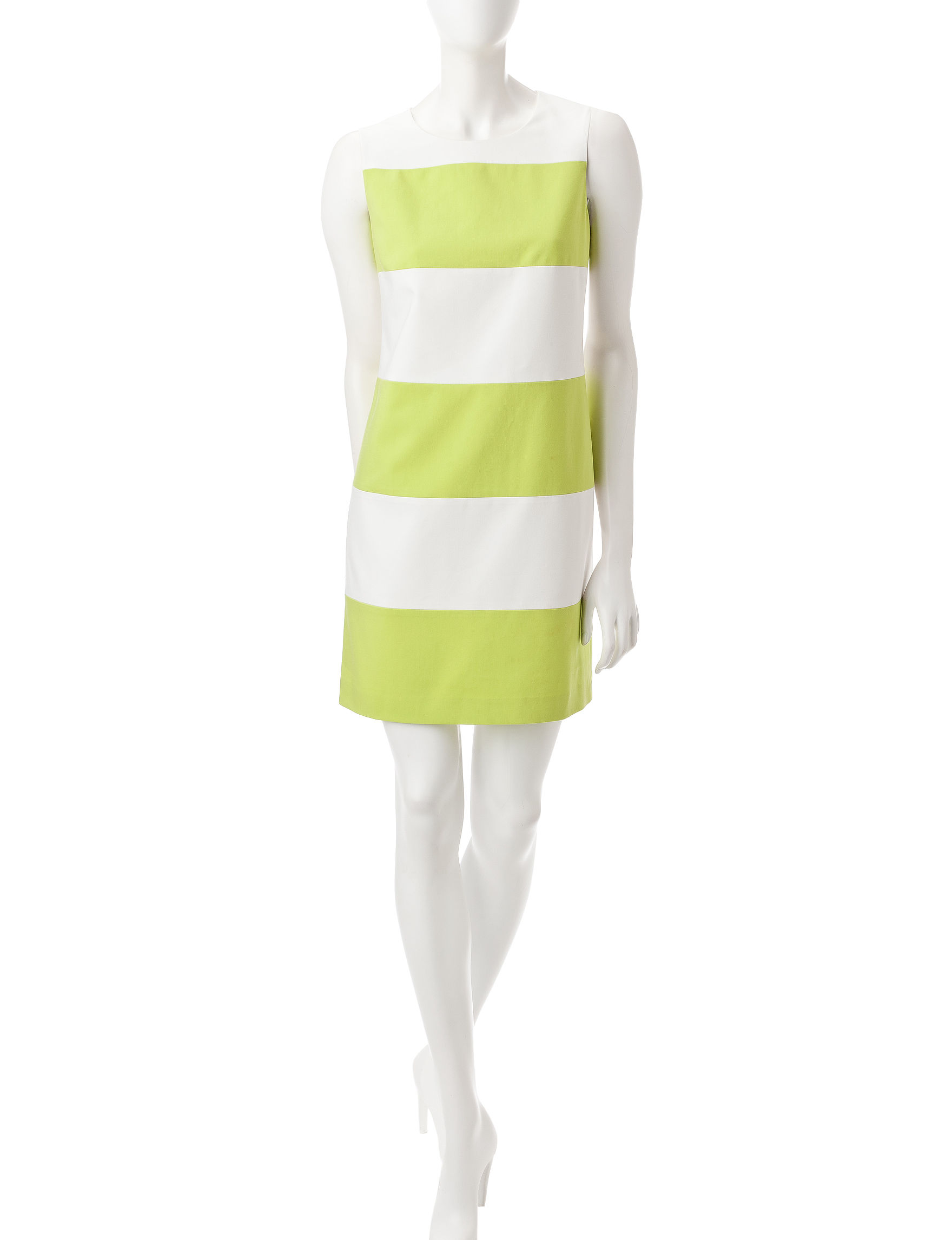 Anne Klein White / Green Everyday & Casual Shift Dresses
