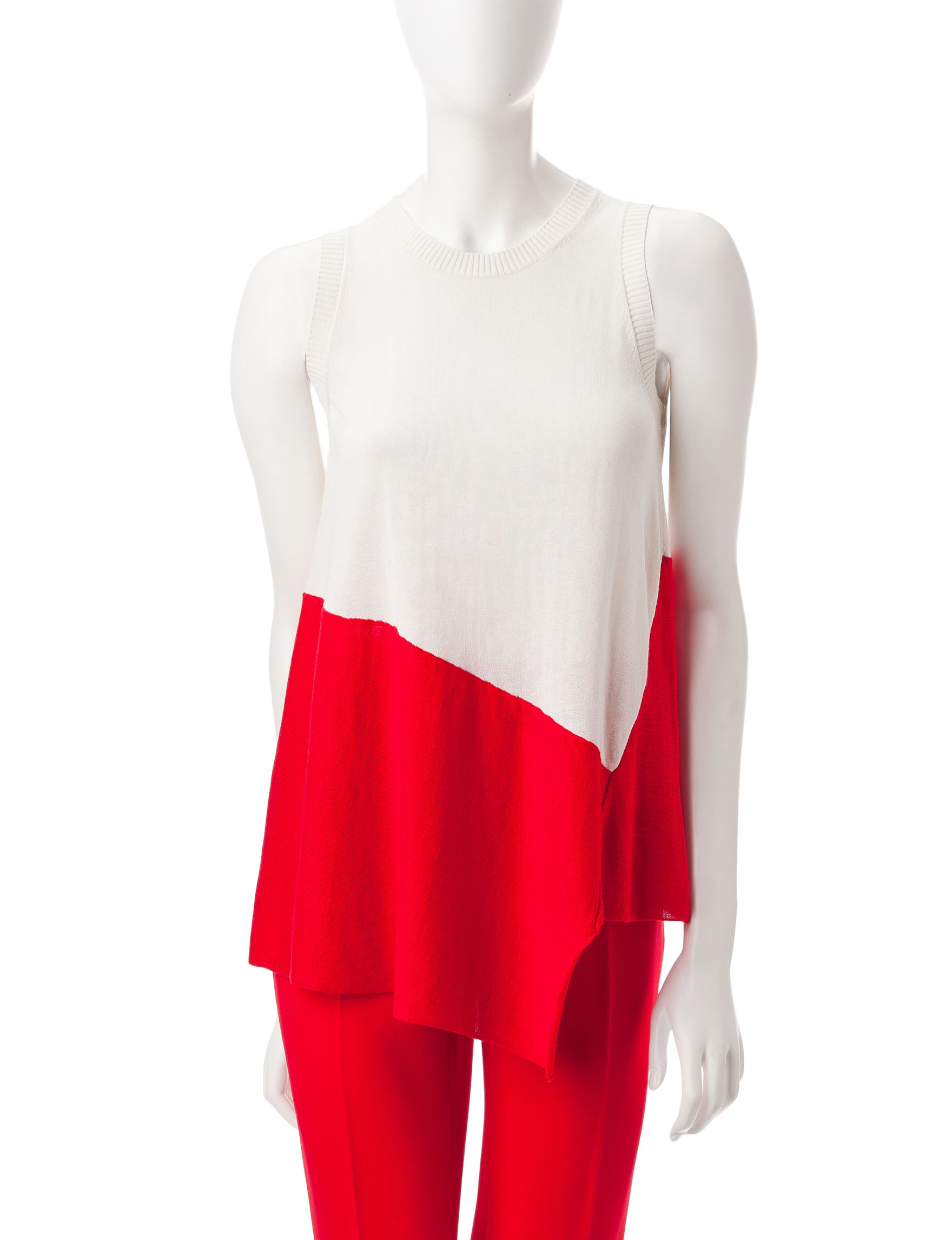 Anne Klein Red / White Pull-overs Shirts & Blouses Sweaters