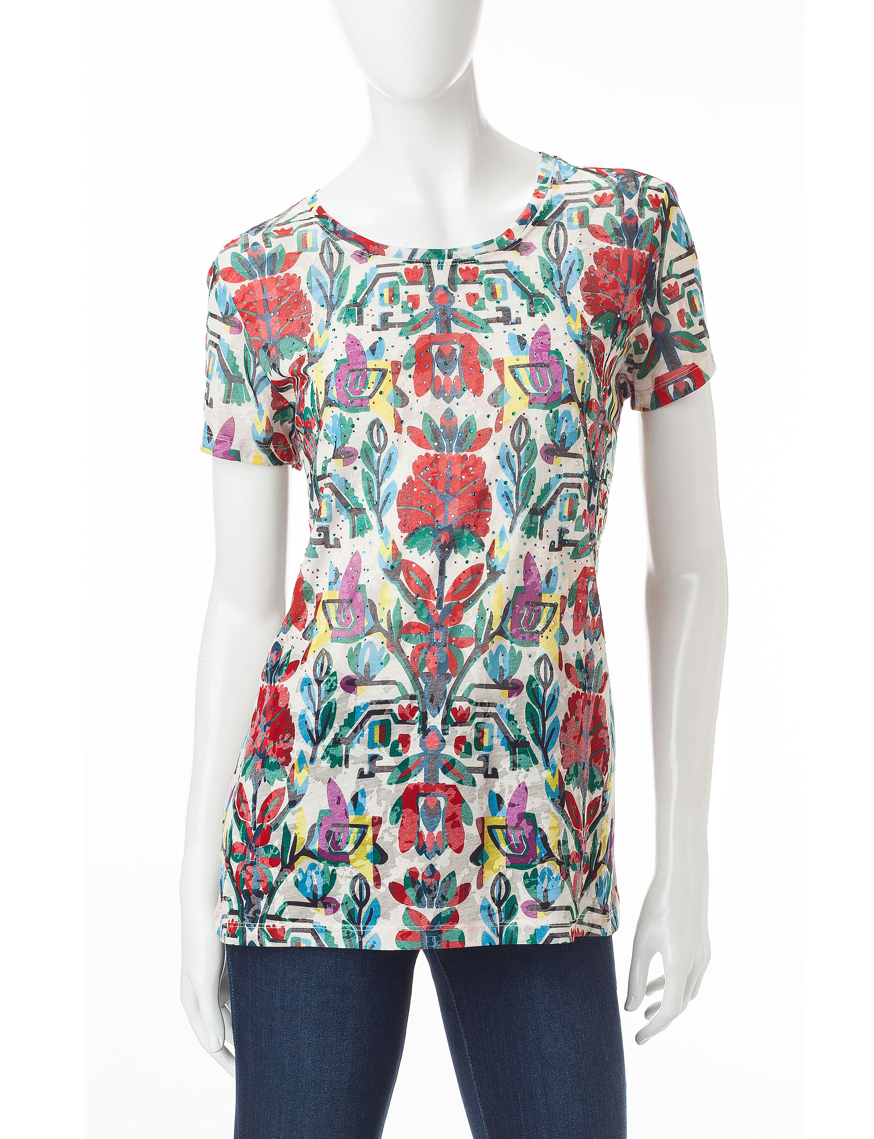 Hannah Red Multi Shirts & Blouses