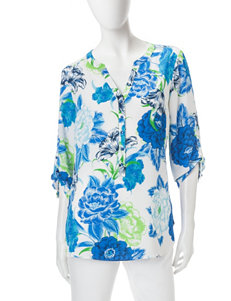 Sara Michelle Textured & Buttoned Blouse
