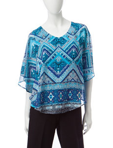Sara Michelle Navy/ Turquoise Shirts & Blouses