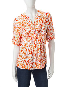 Cathy Daniels Orange / White Shirts & Blouses
