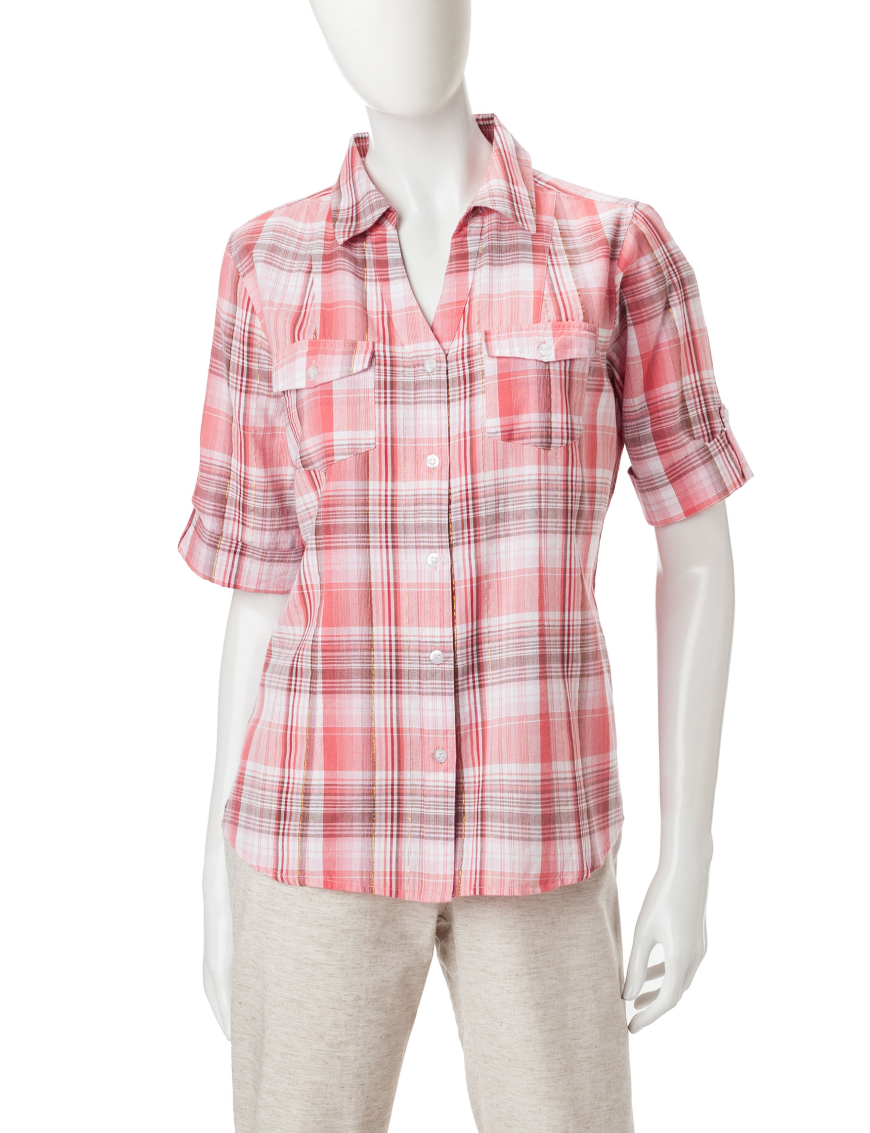 Cathy Daniels Pink Plaid Shirts & Blouses