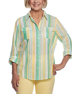 Alfred Dunner Yellow Stripe Shirts & Blouses