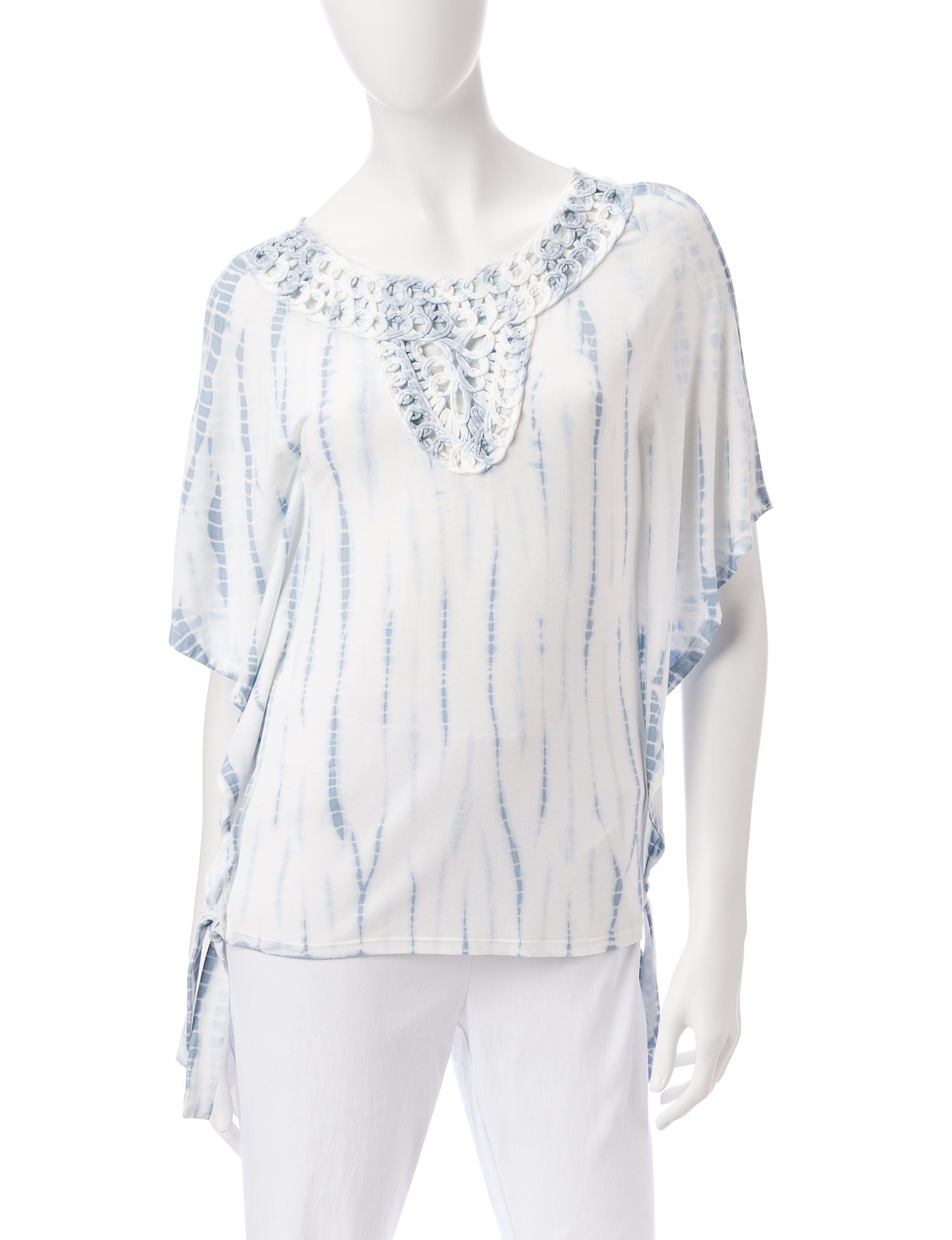 Ruby Road White / Blue Shirts & Blouses