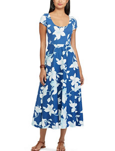 Chaps Blue Multi Everyday & Casual Sundresses