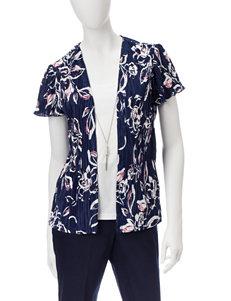 Sara Michelle Navy Multi Shirts & Blouses