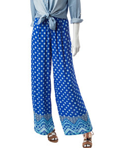 Valerie Stevens Blue Multi Capris & Crops Wide Leg