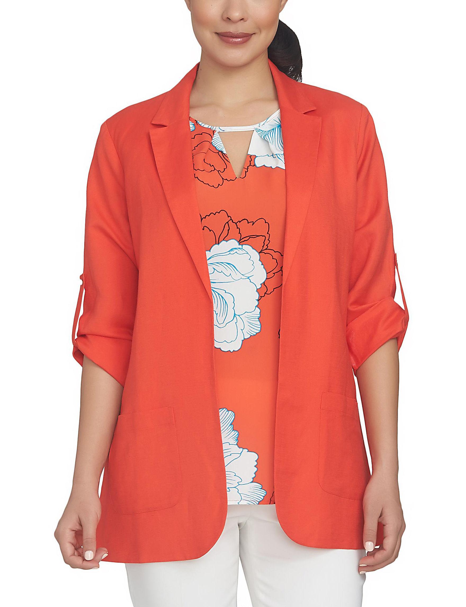 Chaus Neon Coral Lightweight Jackets & Blazers