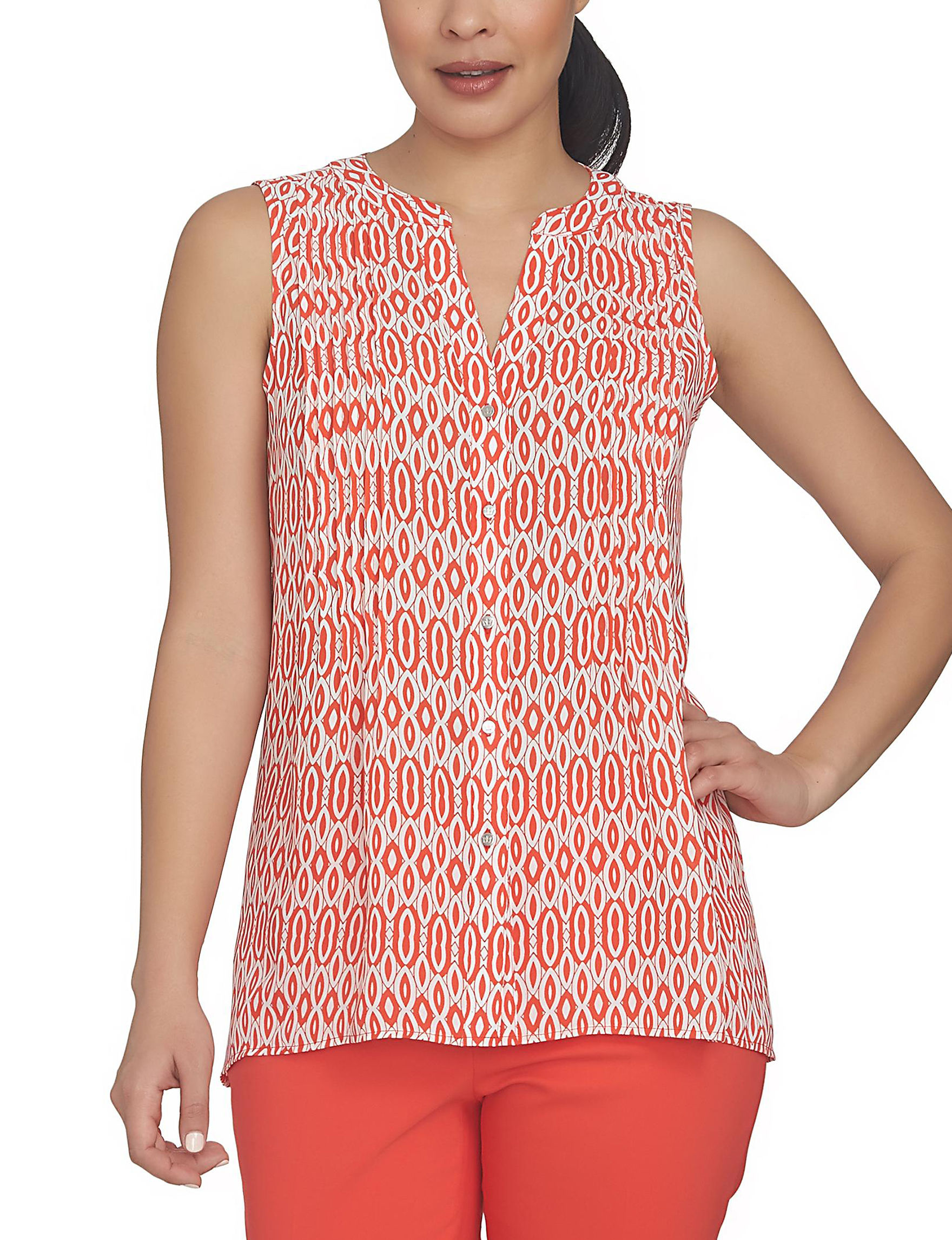 Chaus Neon Coral Shirts & Blouses
