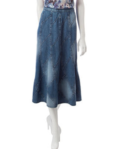 Studio West Patchwork Denim Midi Skirt