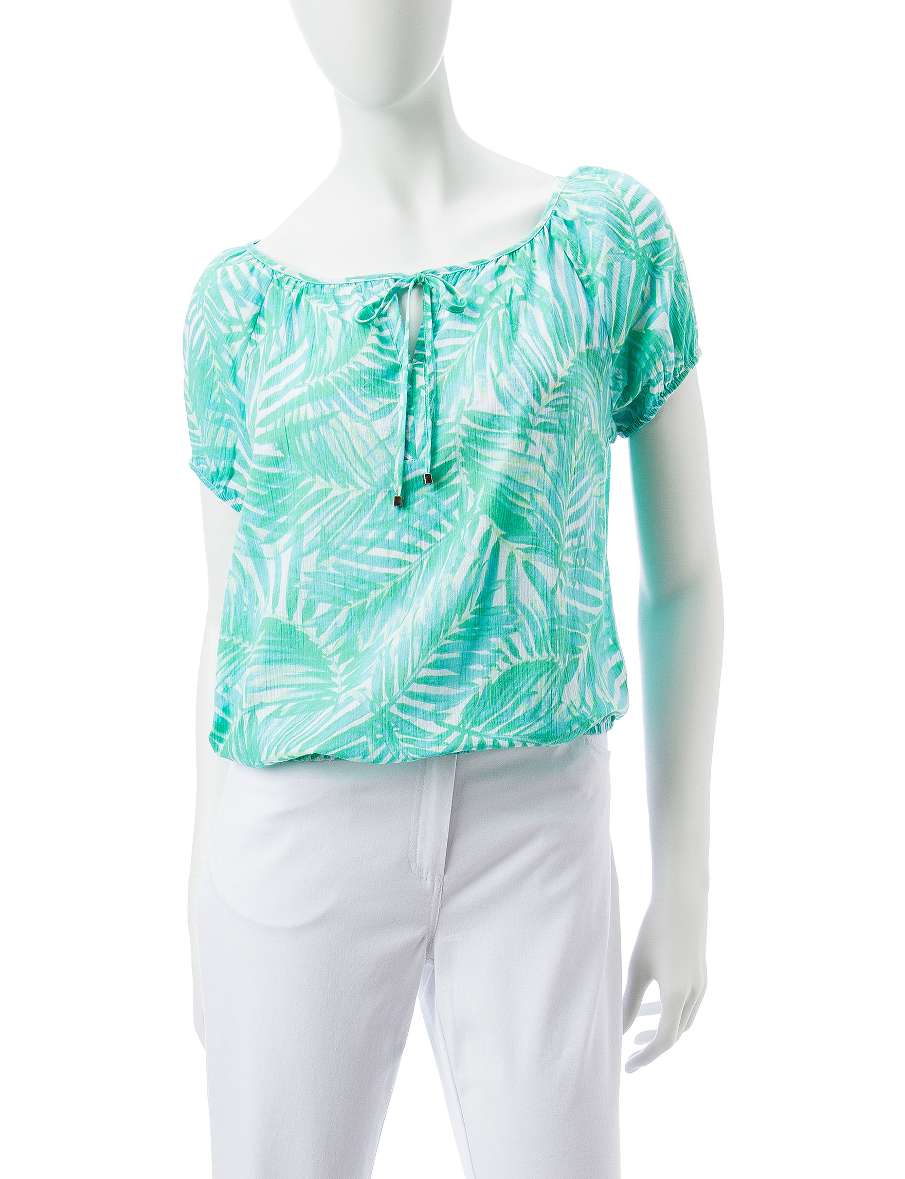 Hearts of Palm Teal Shirts & Blouses