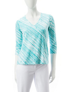 Hearts of Palm Blue Multi Shirts & Blouses