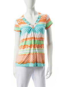 Hearts of Palm Orange Multi Shirts & Blouses