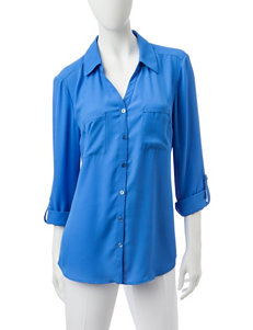 Valerie Stevens Blue Casual Button Down Shirts Shirts & Blouses