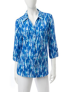 Valerie Stevens Navy Casual Button Down Shirts Shirts & Blouses