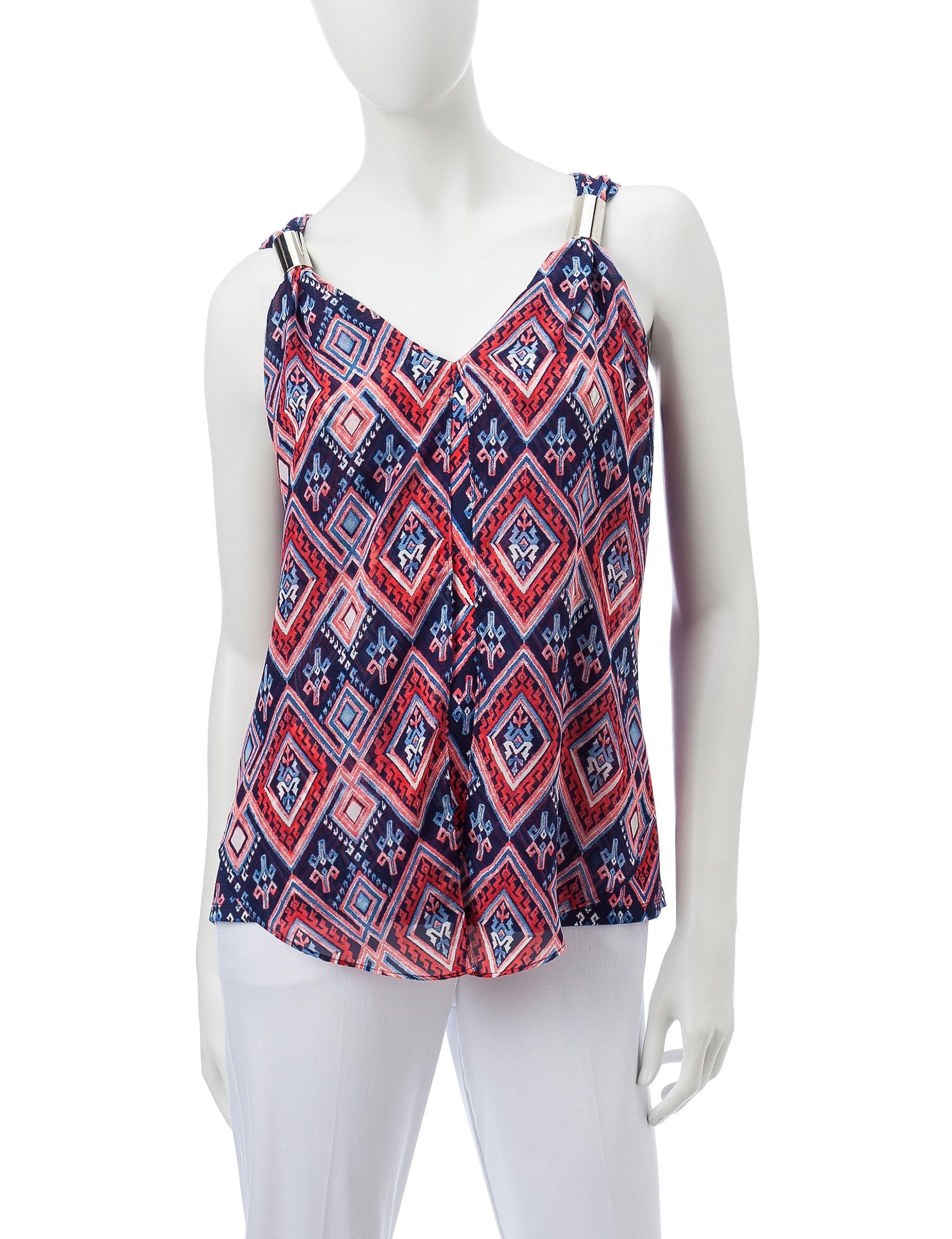 Valerie Stevens Blue Multi Camisoles & Tanks Shirts & Blouses