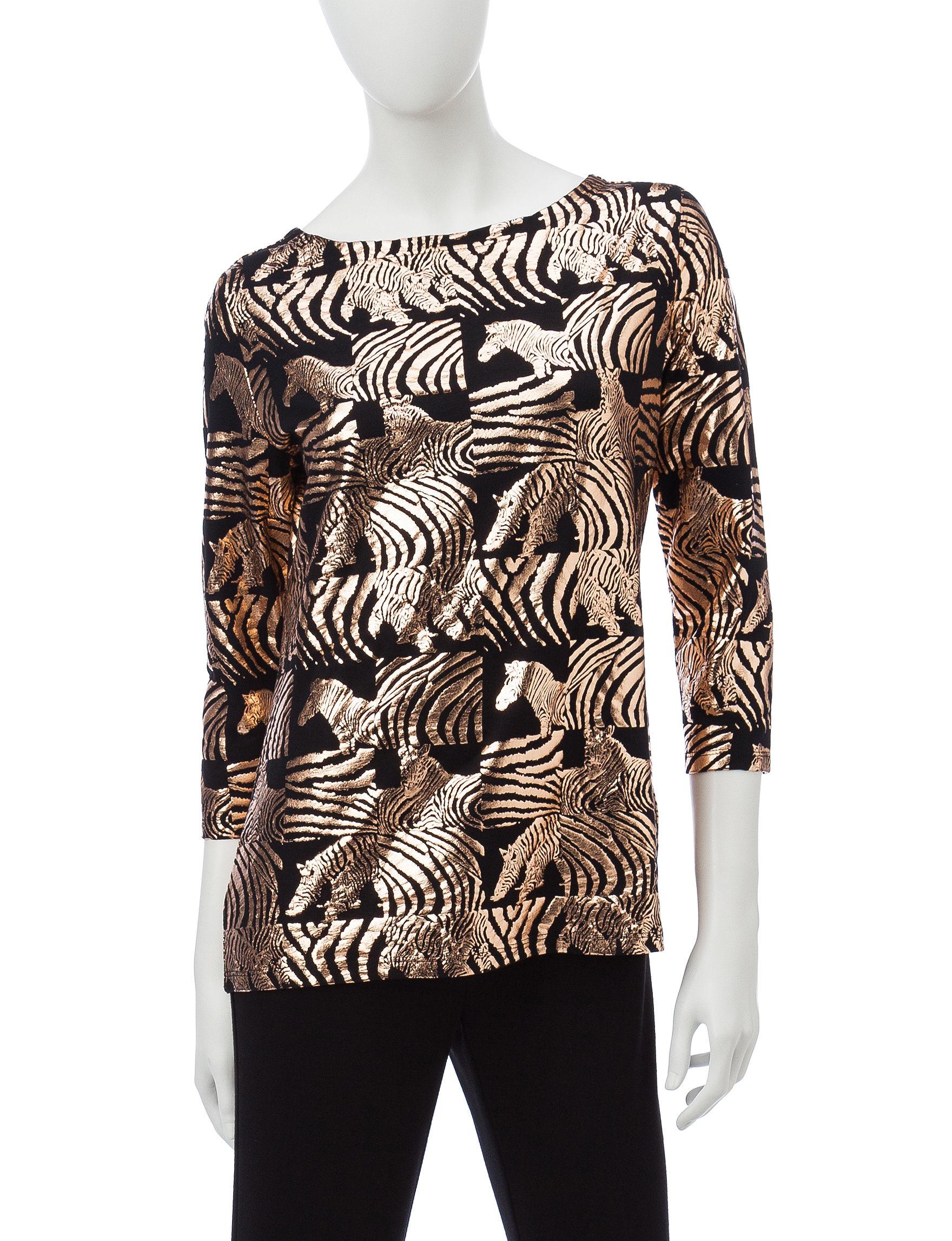 Rebecca Malone Black / Gold Shirts & Blouses