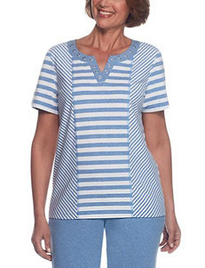 Alfred Dunner Blue Shirts & Blouses