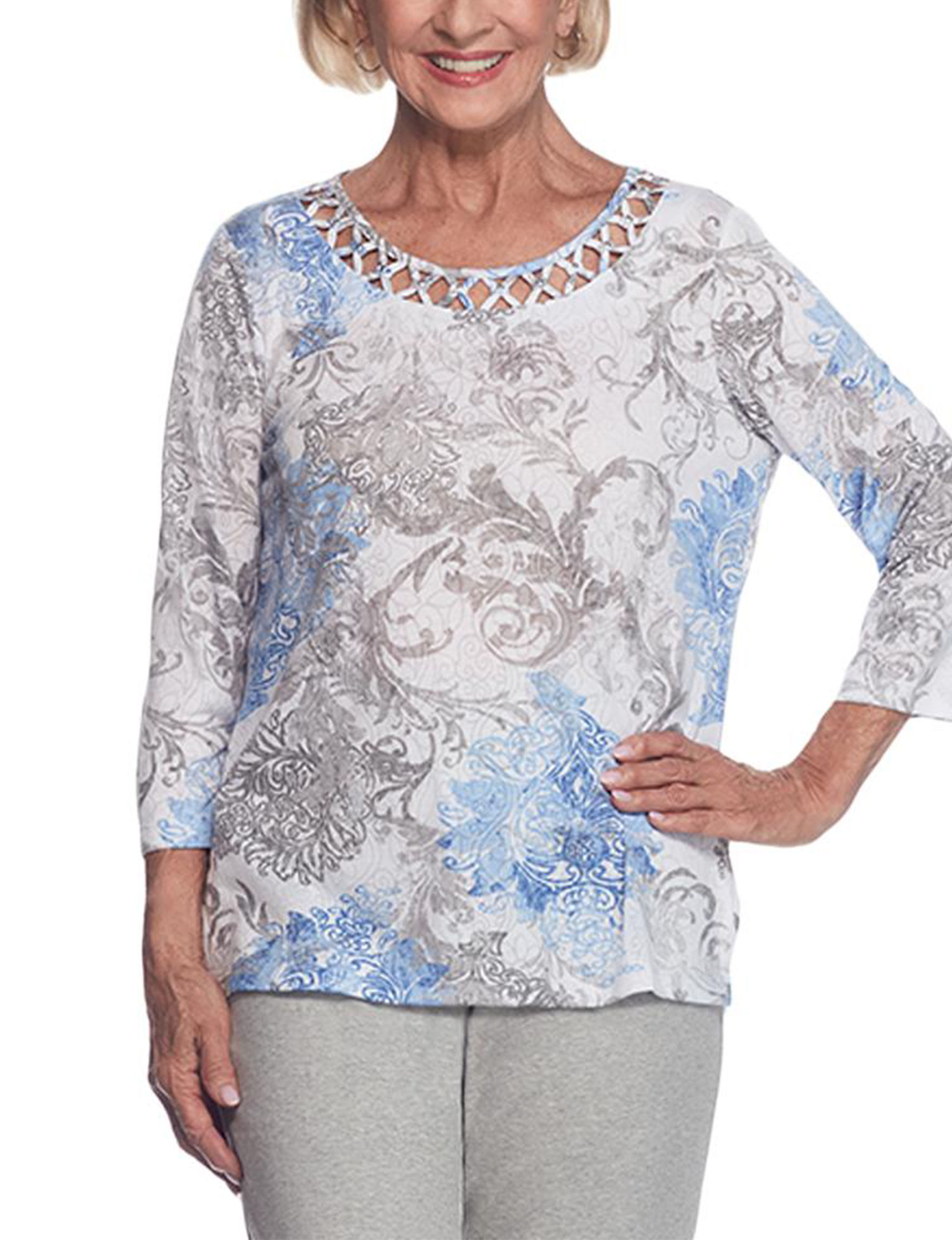 Alfred Dunner Blue / Grey Shirts & Blouses