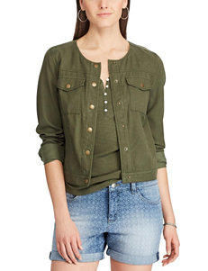 Chaps Olive Lightweight Jackets & Blazers