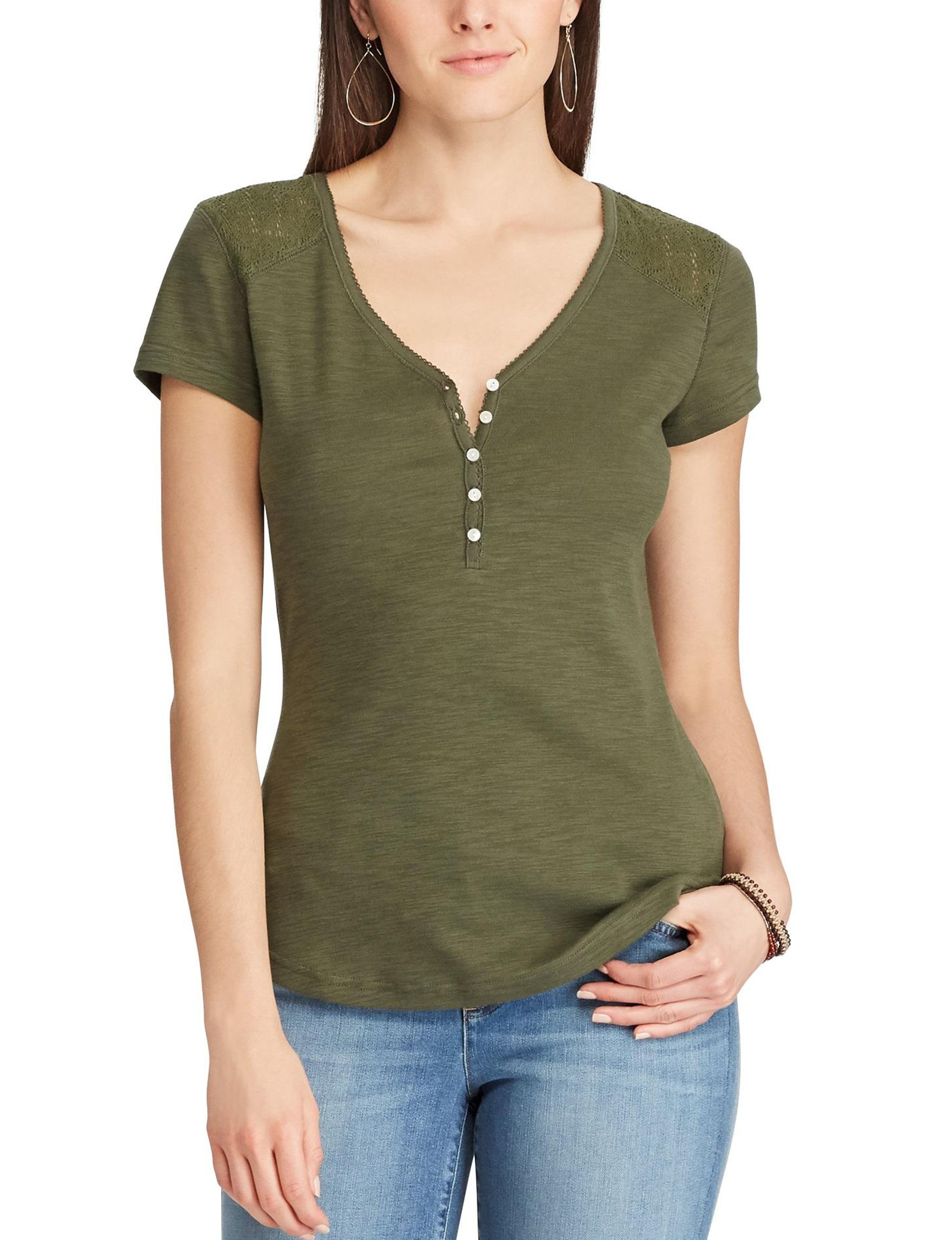 Chaps Olive Shirts & Blouses