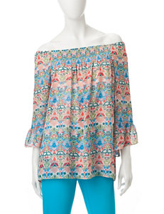 Valerie Stevens Pink / Blue Shirts & Blouses