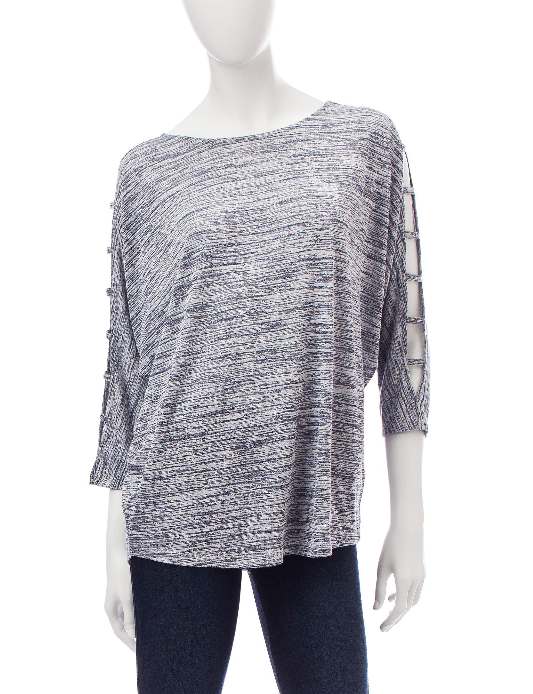 Hannah Blue / Grey Shirts & Blouses