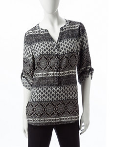 Sara Michelle Black Multi Shirts & Blouses