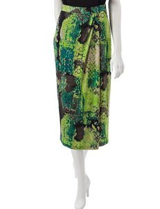 Kasper Abstract Foil Sarong Skirt