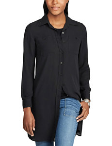 Chaps Black Shirts & Blouses