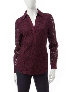 Valerie Stevens Burgundy Shirts & Blouses