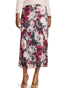 Chaps Floral Pleated Skirt