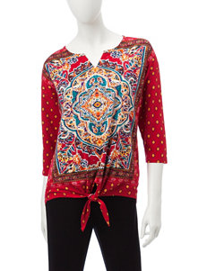 Onque Casuals Red Multi Shirts & Blouses
