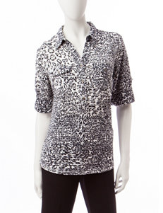 Rebecca Malone Black / Grey Everyday & Casual Shirts & Blouses
