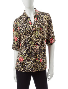 Rebecca Malone Brown Floral Shirts & Blouses
