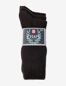 Chaps 3-pk. Casual Ribbed Black Crew Socks