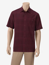 Haggar Work to Weekend Burgundy Woven Plaid Shirt – Men's
