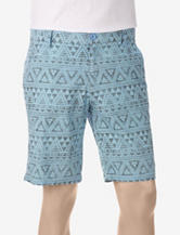 Distortion Light Blue Geometric Tribal Print Shorts – Young Men's