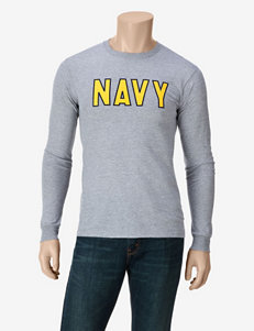 U.S. Navy Heather Gray Basic Long Sleeve Navy T-shirt