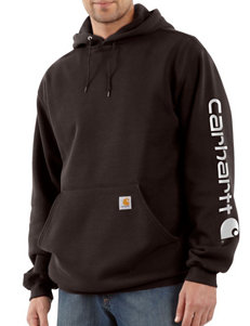 Carhartt Midweight Solid Color Signature Sleeve Logo Hooded Sweatshirt