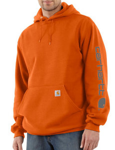 Carhartt® Men's Big & Tall Solid Color Signature Sleeve Logo Hooded Sweatshirt