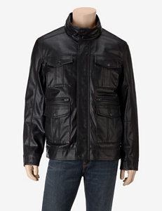 Tommy Hilfiger Solid Color Snap Faux Leather Jacket