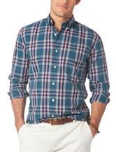Chaps Men's Big & Tall Blue, White & Red Madras Plaid Shirt