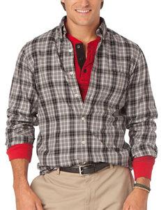 Chaps Dark Grey Casual Button Down Shirts