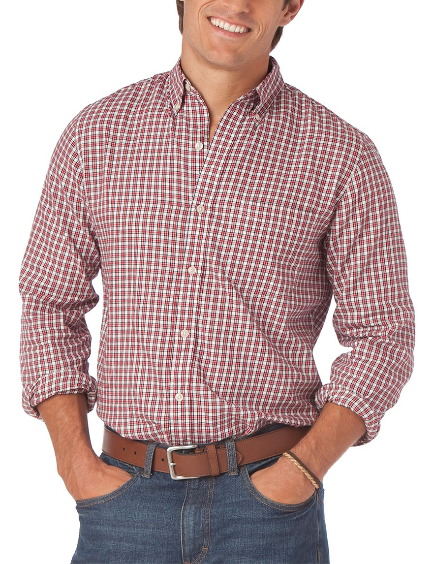 Chaps men 39 s big tall red white black gingham plaid for Red and white plaid shirt mens