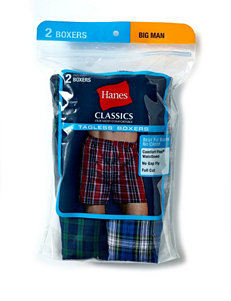 Hanes Men's Big & Tall 2-pk Tartan Plaid Big Man Boxers